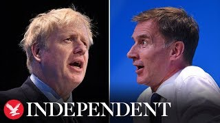 Boris Johnson and Jeremy Hunt take part in a live hustings event as they battle to be next PM