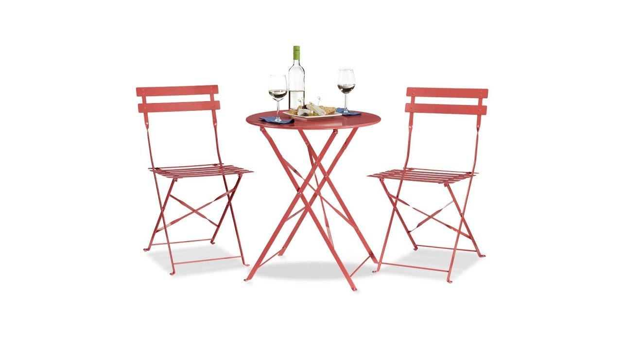 Bistrotisch Mit Stühlen Outdoor.Bistrotisch Rund Mit 2 Stühlen Rot