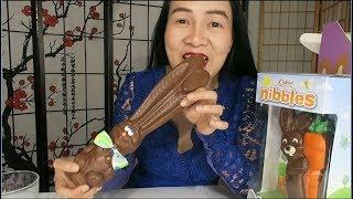 Ăn keo socola thỏ thiệt bư thơm ngon ,ăn kẹo trứng màu sắc.