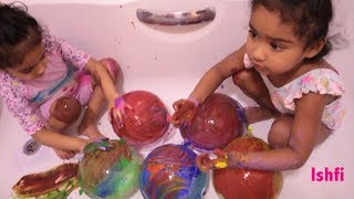 Pre School Toddler Ishfi Rufi's learning Song with Balloon and Paint