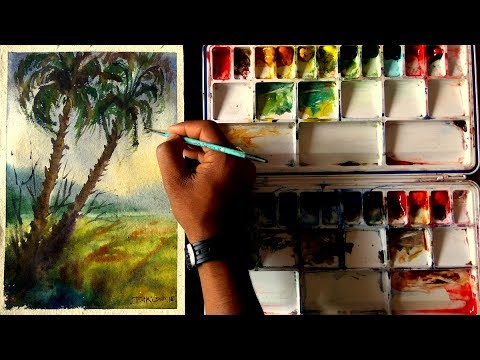 Watercolor Landscape painting : Two tree together