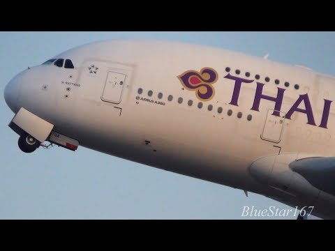 Thai Airways International Airbus A380-800 (HS-TUA) takeoff from KIX/RJBB (Osaka Kansai) RWY 06R