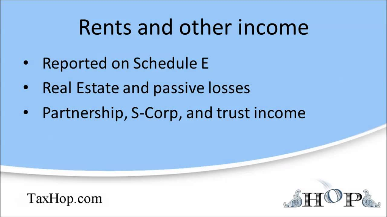 Rents and miscellaneous income schedule e youtube falaconquin