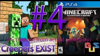 Minecraft PS4 Gameplay Playthrough Part 4 - Creepers! The Night Continues HD Let