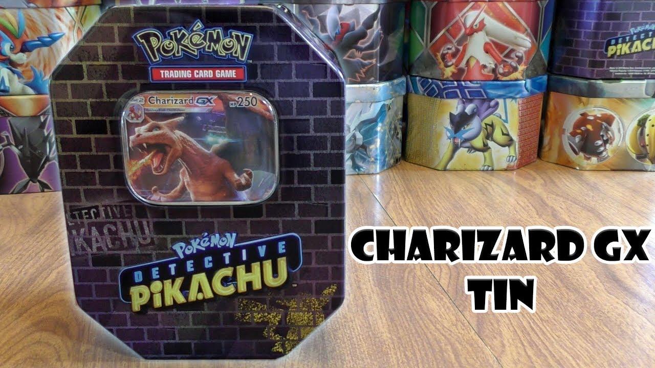 Detective Pikachu Charizard Gx Tin Opening Youtube