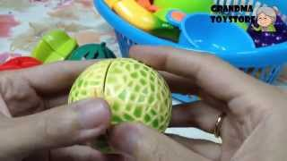 Unboxing Toys Review/demos - Part 1 Kitchen Basket Set Chopping Food Tea Time Imitate Mommy Cooking