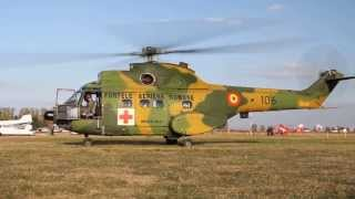 NEW Romanian Military Air Force IAR 330 Puma Medevac - Startup and Takeoff (Clinceni) HD HQ NATO