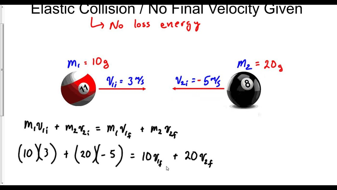 Perfect Elastic Collision No Final Velocity Given Youtube