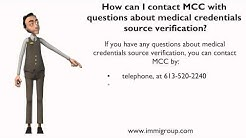 How can I contact MCC with questions about medical credentials source verification?