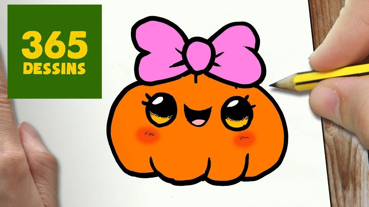 Comment Dessiner Citrouille Kawaii étape Par étape Dessins Kawaii Facile