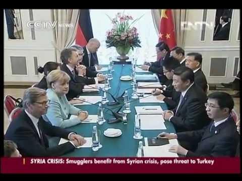 Xi Jinping and Angela Merkel meet to discuss trade