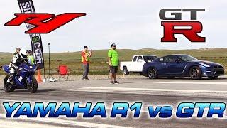 Yamaha R1 vs Nissan GTR - 1/2 Mile Drag Race!