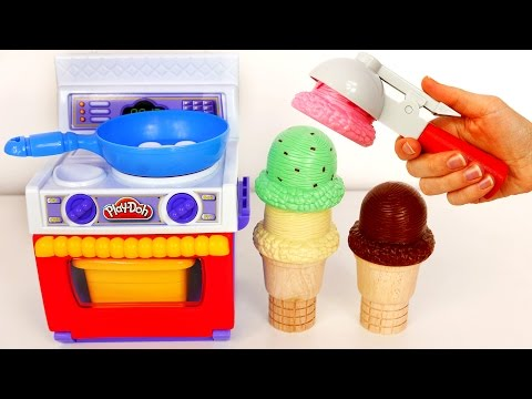 Thumbnail: Play Doh Food Kitchen Playset!! Ice Cream Cones