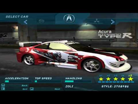 Need For Speed Underground 1 - All Official & Bonus Cars