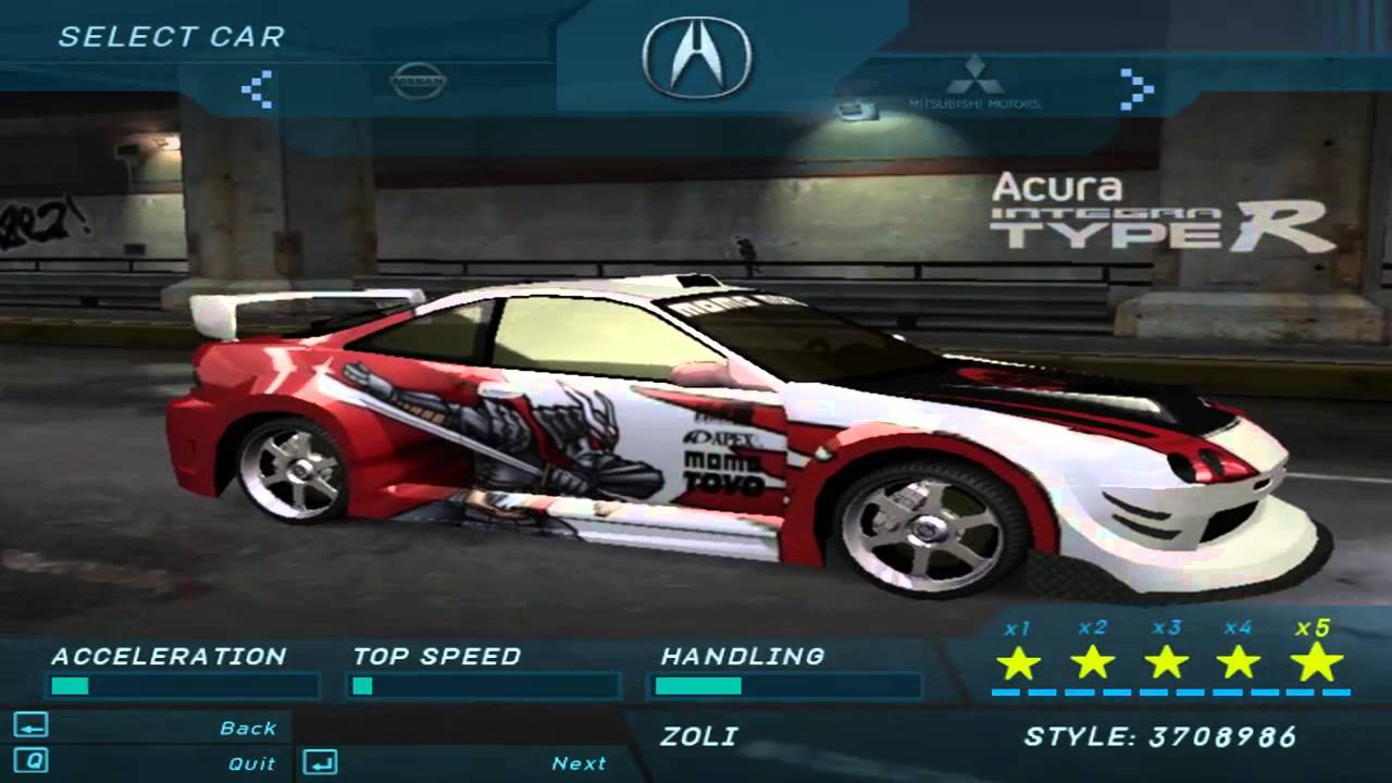 Need For Speed Underground 1 - All Official & Bonus Cars ...