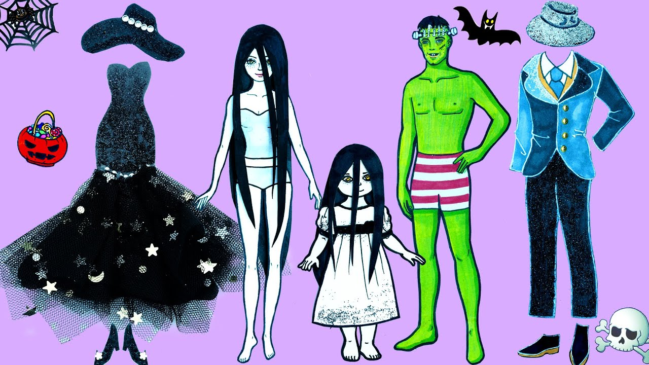 Paper Dolls Dress Up ~ Costumes Family Sadako and Frankenstein Dresses Handmade ~ Dolls Beauty
