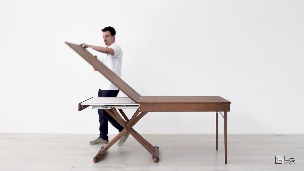 Tavolo Consolle Con Sedie Pieghevoli.Tavolo Magico Allungabile Noce Scuro 10 Posti Lg Lesmo Youtube