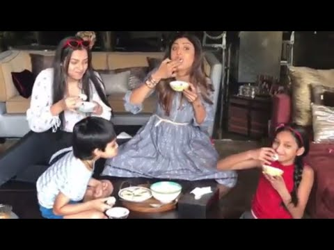 Shilpa Shetty Eating Rasgulla Giving Challenge to Nieces and Son