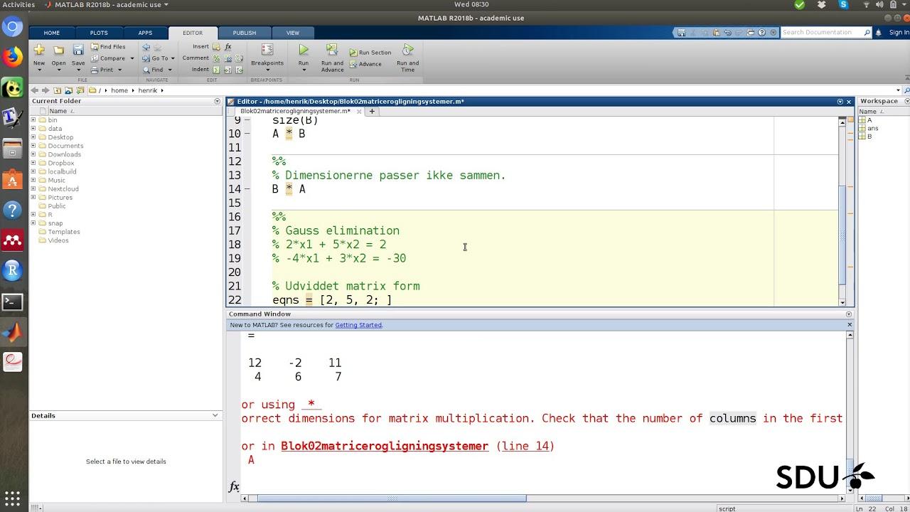 Matricer og lineære ligningssystemer - matlab eksempler