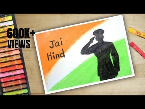 Independence Day Drawing With Oil Pastels - Step By Step