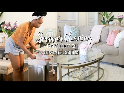 SUMMER CLEAN AND DECORATE WITH ME! | LIVING ROOM & KITCHEN CLEANING ROUTINE | RELAXING CLEAN WITH ME