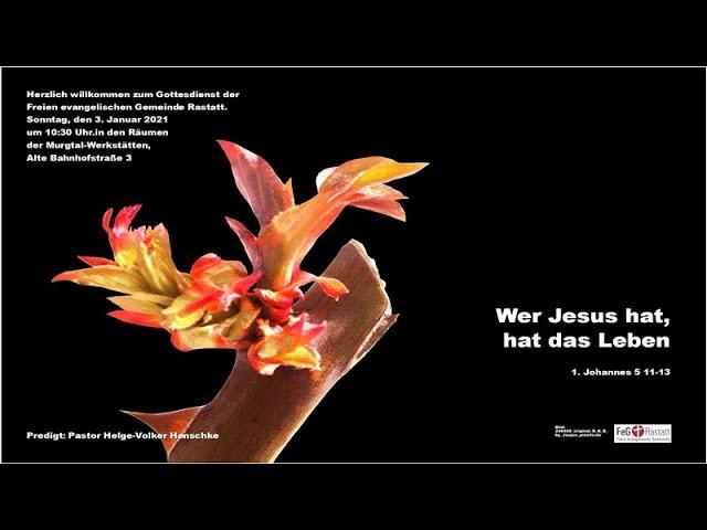 Gottesdienst der FeG Rastatt am 3. Januar 2021