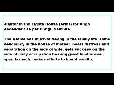 jupiter in 8th House for virgo Ascendant as per Bhrigu Samhita - YouTube