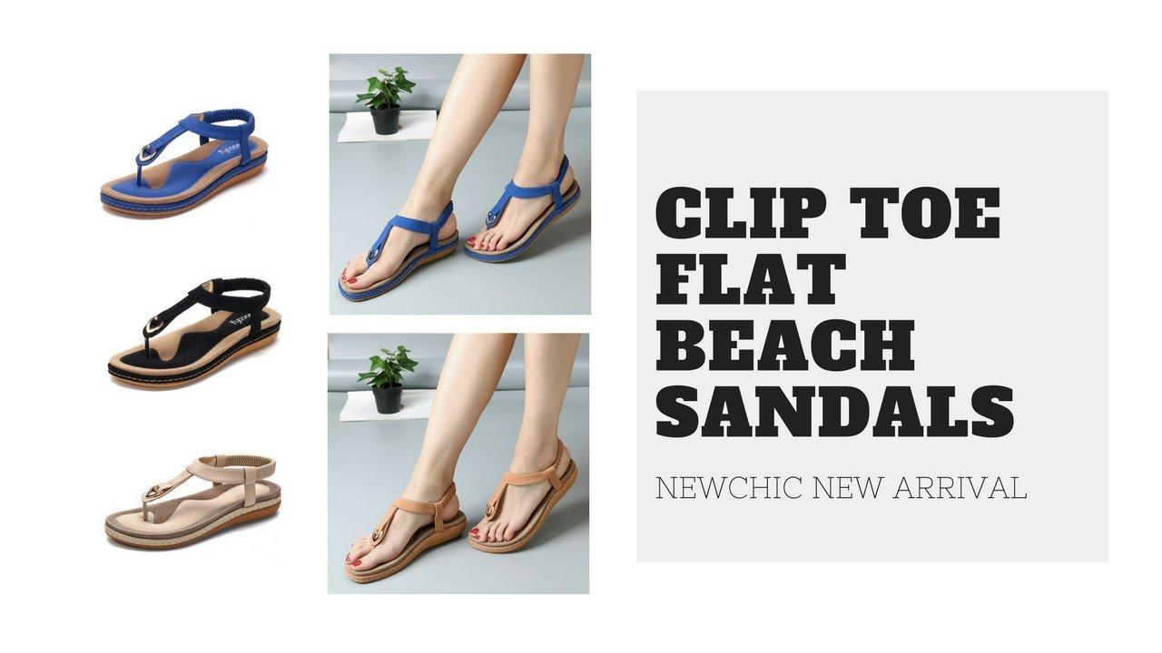 e89d95ea2bbd SOCOFY Comfortable Elastic Clip Toe Flat Beach Sandals - YouTube