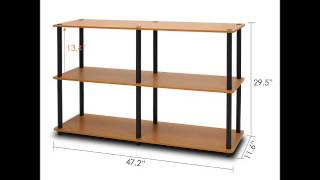 FURINNO 99634LC BK 3 TIER MULTIPURPOSE STORAGE DISPLAY RACK SHELF, LIGHT CHERRY
