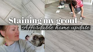 Staining my grout dark grey / Cheap DIY house update . less than $15