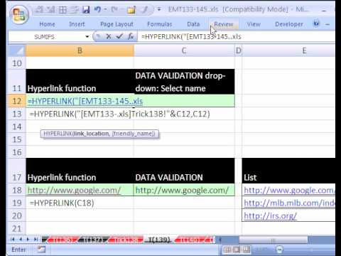 Excel Magic Trick #139: HYPERLINK function & Drop Down List