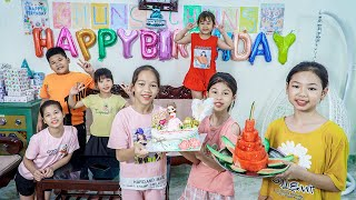 Kids Go To School   Chuns And Best Friend Birthday Cake And Fruit Party