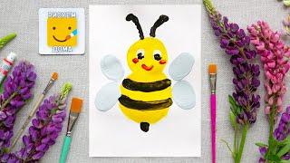 Пчела/Как нарисовать пчелу/Простые рисунки пальчиками/How to draw a bee