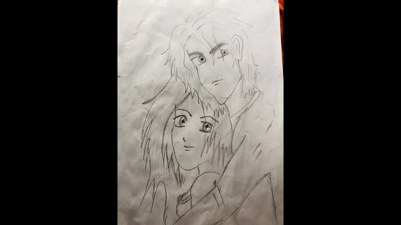 Romantic love couple pencil sketch. learn how to draw ...
