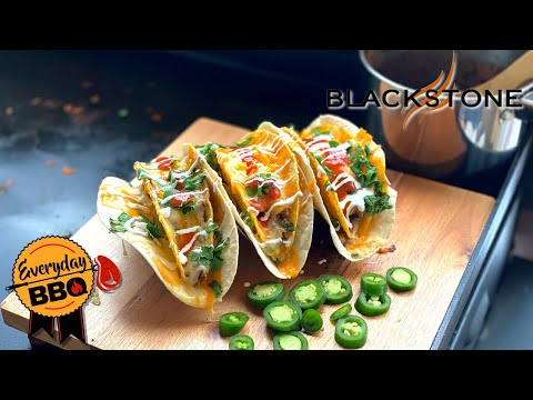 DOUBLE DECKER TACOS | Blackstone Griddle Taco Recipe | Better than Taco Bell! | Everyday BBQ
