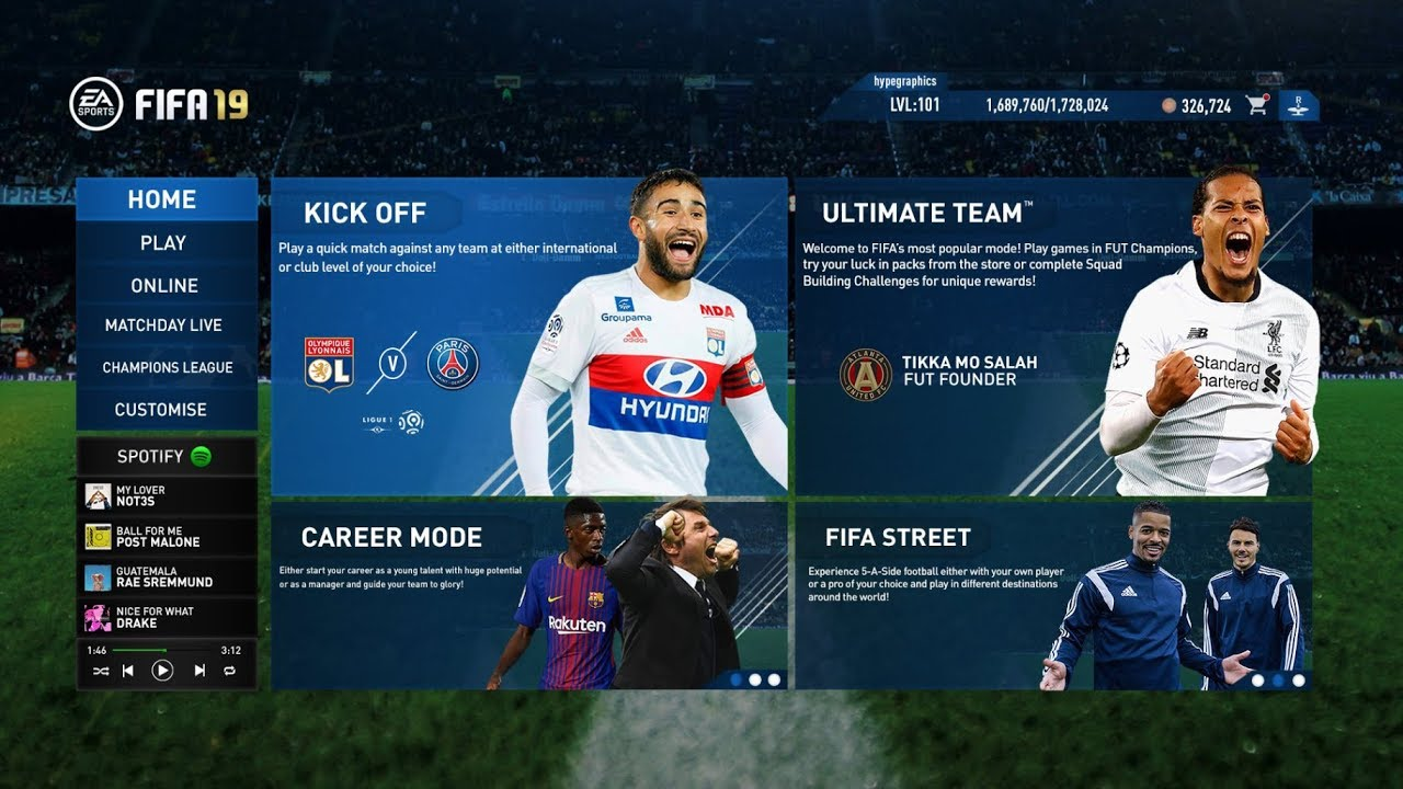 Image result for Fifa 19 menu