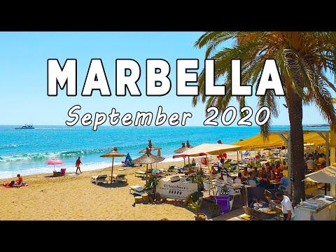 Marbella Beach Walk In September 2020, Malaga, Costa Del Sol, Spain [4K]