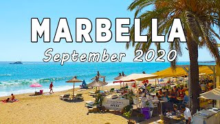 Marbella Beach Walk in September 2020, Malaga, Costa del Sol, Spain [4K]