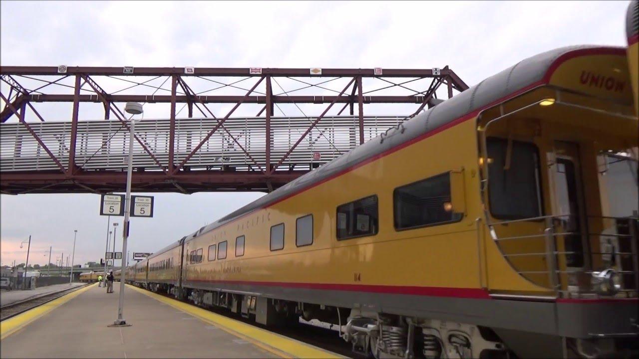 12 Car Union Pacific Business Train Across Sedalia Sub Youtube