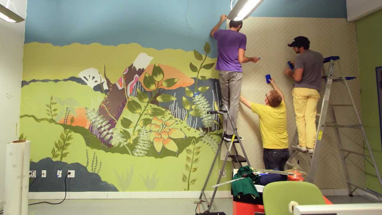 Hanging the Newest Threadless + Blik Wall Decal in Our Office - YouTube