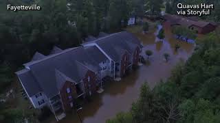 Drone footage of the flooding in Fayetteville