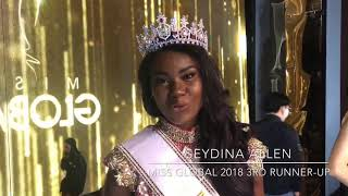 Miss Global 2018 3rd runner-up Seydina Allen sending her love and greetings to Haiti