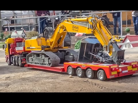 RC truck excavator HEAVY transport to the construction site!