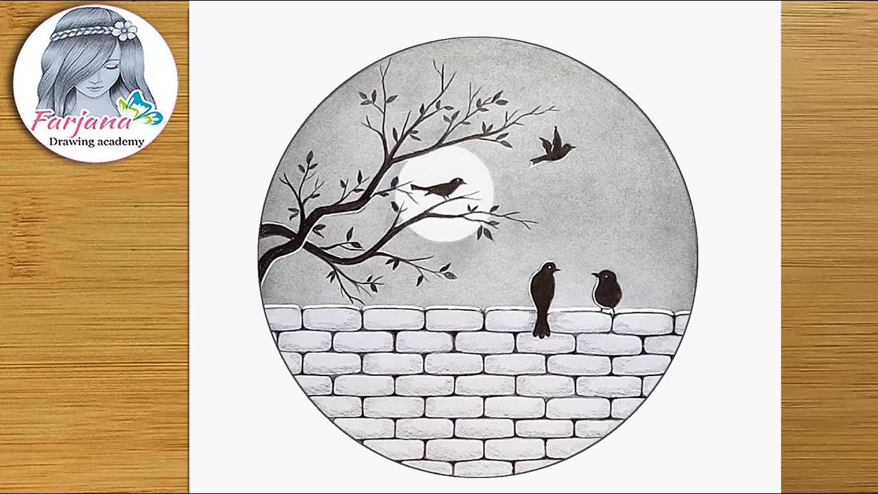 The birds are sitting on a wall - Pencil Sketch for beginners || How to draw Scenery of Moonlight