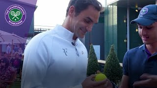 Roger Federer reunited with 10,000th ace ball at Wimbledon 2017