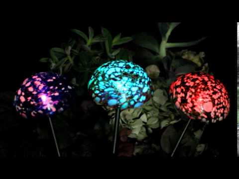 Hand Blown Art Glass Solar Powered Lights Put On A Color Changing Light  Show At Night.