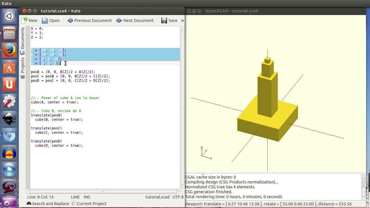 OpenScad (II) 11 – Apilando varios objetos | DIWO