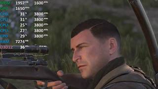 Sniper Elite 4 AMD Ryzen 3 2200G Vega 8 GPU@1650Mhz CPU@3.8Ghz Gameplay Benchmark Test