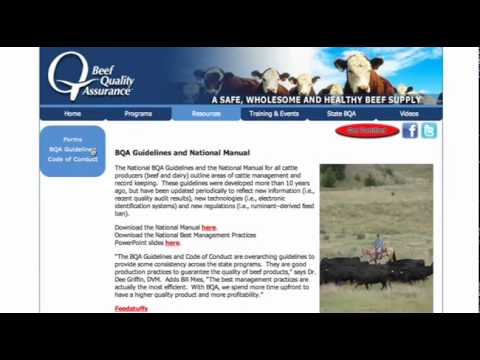 Beef Quality Assurance: Visit www.bqa.org for Online Certification ...