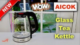 😍  AICOK  ❤️Glass Electric Tea Kettle  - Review   ✅